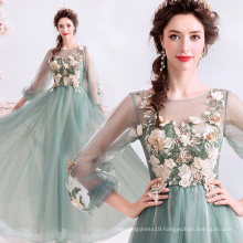 Luxury Jade Green Beaded Flower Decorate Plus Size Evening Gowns Sequined Tulle Long Evening Dresses