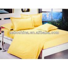 Amarelo direto fábrica feita 4pcs atacado hotel de algodão cama conjunto