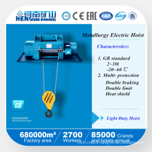 Chinese Wire Rope Metallurgy Electric Hoists