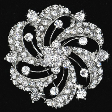 Fashion clear rhinestone brooches for wedding party wholesale metal bridal jewelry