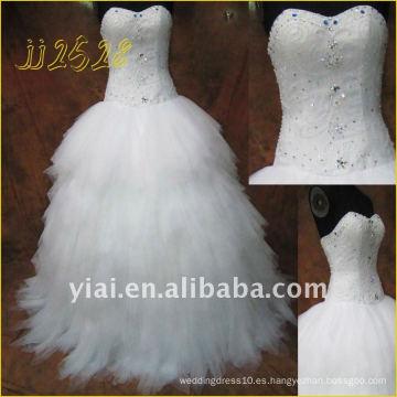 JJ2528 Vestido de boda nupcial real Tulle real rebordeado más nuevo del envío libre