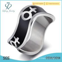 Anillo de lesbianas de plata y negro, anillos de orgullo de parejas lesbianas anillos