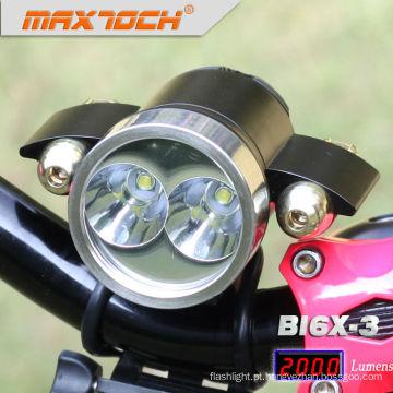 Maxtoch BI6X-3 Red Lights poder 18650 Pack luzes de bicicleta de alumínio