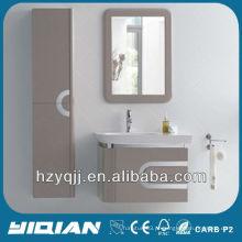 Móveis para casa de banho Suspensão de parede com aço inoxidável Bordas cobertas Vanity High Gloss E1 Grade MDF Bathroom Cabinet