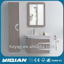 Мебель для ванной комнаты Настенная подвеска с нержавеющей сталью Покрытые края Тщеславие Высокий блеск E1 Класс MDF Шкаф для ванной комнаты