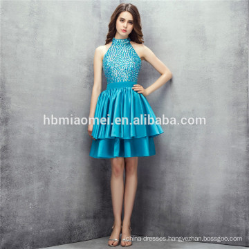 2017 hot selling new fashion green color heavy beaded halter design bridesmaid dress online