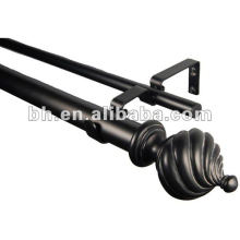 Black Resin Finial Metal East African Curtain Tube