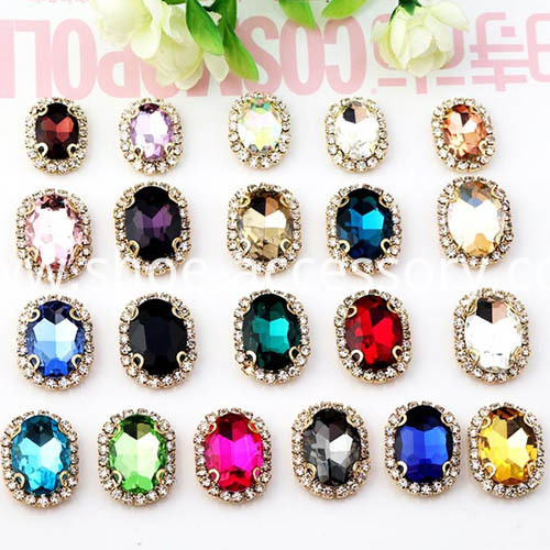 fancy 10x14mm oval sew-on jewels color standard