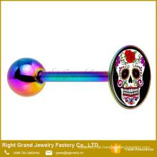 Edelstahl-Rainbow eloxiert Flower Skull Logo Barbell Zunge Ring