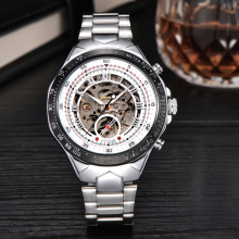 stainless steel men watches skeleton fashion clock