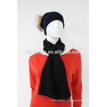 Hochwertiger Anti-Pilling Kaschmir Pompon Hut Schal Set