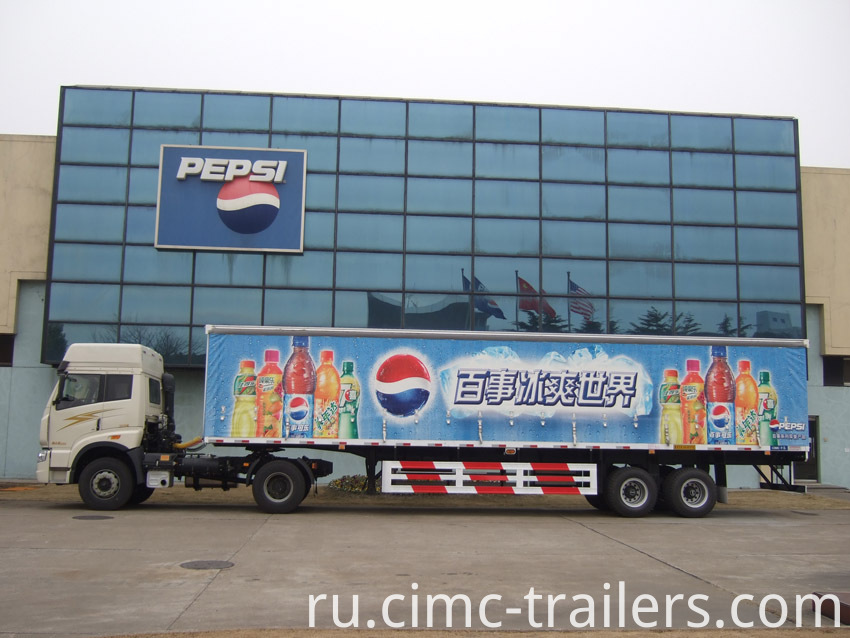 Curtain Two Axle Box Curtain Side Semi Trailer