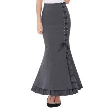 """Belle Poque Estilo retro del Victorian del estilo alto Nylon-Algodón gris elástico Ruffled la falda larga 44 de la sirena del Fishtail """"BP000203-2"""