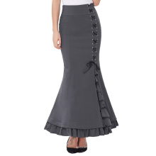 "Belle Poque Vintage Retro Victorian Style High Stretchy Grey Nylon-Cotton Ruffled Fishtail Mermaid Long Skirt 44"" BP000203-2"