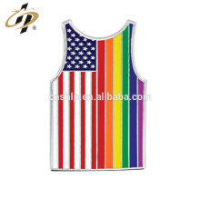 Wholesale iron die struck silver Tank Top enamel Pin