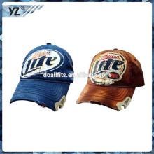 Hochwertiger Druck Bier Flaschenöffner 6 Panel LKW Mesh Hut / Müller Flaschenöffner gewaschen Baseball Caps