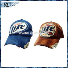 High quality printing beer bottle opener 6 panel truck mesh hat/miller bottle opener washed baseball caps