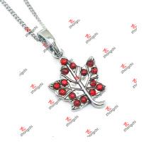Fashion Red Birthstone Maple Leaf Charms Jewelry Necklace Cadeaux (KDJ60128)