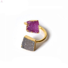 Double Gold Crystal Druse Finger Rohstein Druzy Ring