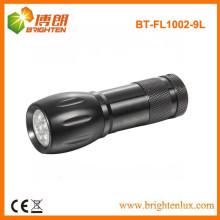 Fonte de fábrica Material de alumínio Ao ar livre 9 conduziu a lanterna elétrica conduzida com 3 * AAA Bateria