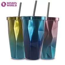 Stainless Steel Double Walled Tumbler With Straws