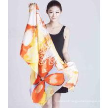 2017 Shanghai New Style 100% Silk Twill Screen Printed Shawl