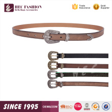 HEC Free Sample Whoeslae Black Color Fashion Leather Belt