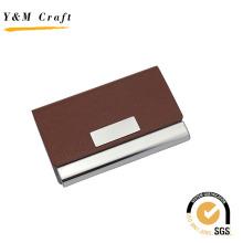 Porte-cartes en cuir PU avec porte-nom en métal