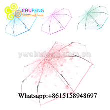 Ladies 3 Folding Transparent Umbrella Parasol Pink Flowers Pattern Umbrella