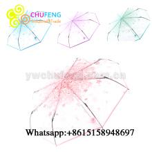 Senhoras 3 Folding Transparente Umbrella Parasol Pink Flowers Pattern Guarda-chuva