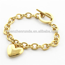 fashion jewelry plating 18k gold heart bracelet for ladies stainless steel jewelry China Supplier