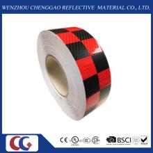 Cinta reflectante de visibilidad de diseño de rejilla negra / roja (C3500-G)