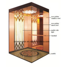 Passenger Elevator with Rose Golden Stainless Steel Car Cabin