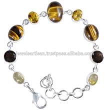 Прекрасный Тигровый Глаз И Мульти Драгоценных Камней 925 Серебряный Браслет Ювелирных Изделий