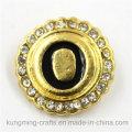 21мм золотое кольцо круглой формы с кнопкой диаманта для браслета DIY