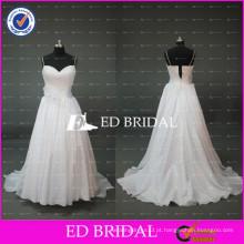 Elegant White Spaghetti Strap A Line Vestidos de casamento de tafetá para a mulher gorda