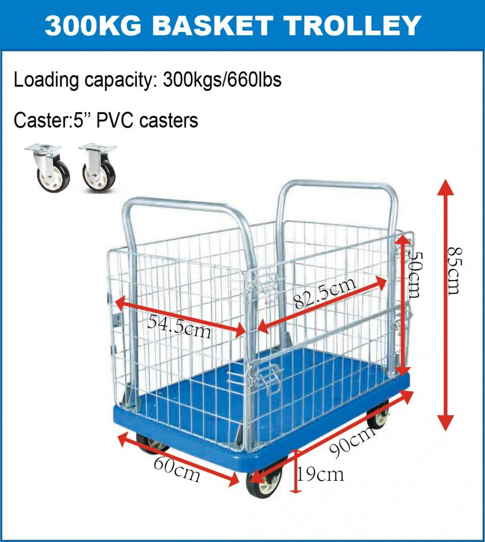 300kg Platform Basket Push Cart Dolly Using Space