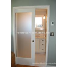 Mate vidrio blanco bolsillo puerta diseño para cuarto de baño