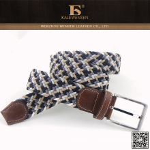 2015 leather braided belt for man with flat belt buckle