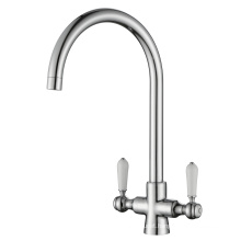 Two Ceramic Handle Brass Kitchen Sink Faucet