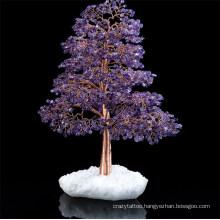 Customize Home Decorations Tree Natural Crystal Gemstone Chips Amethyst Fluorite Aventurine Handmade Tree