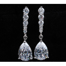 Silver Cubic Zirconia Crystal Dangle Gold Earrings