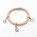 Mud Yellow Genuine Leather Bracelet with Custom Made Charms