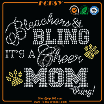 Bling Cheer Mom hotfix rhinestone motif