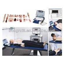 Resucitación cardiopulmonar avanzada con desfibrilación AED, RCP y maniquí AED