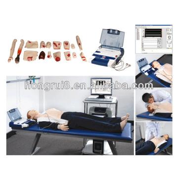 Ressuscitação cardiopulmonar avançada com desfibrilação AED, manequim de RCP