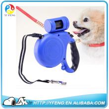 2016 coleira de cão retrátil de alta qualidade com luz LED piscando