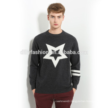 Classic O neck one star pattern design knitting pullover sweater for men