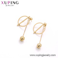 E-671 xuping simple style stainless steel 24k gold color drop ball ladies drop earrings