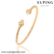 51510 Xuping nuevo diseño al por mayor brazaletes indios chapados en oro sin piedra